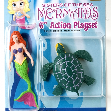 Mermaid and turtle figurine playset